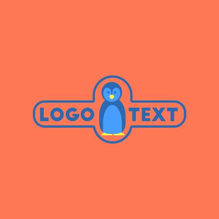 flat icon on background penguin logo Illustration