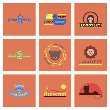 assembly flat icons nature logo bear lion giraffe penguin snake monkey bird bull Stock Vector - 82857800