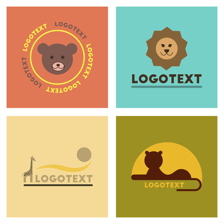 assembly flat icons nature logo bear lion giraffe Illustration
