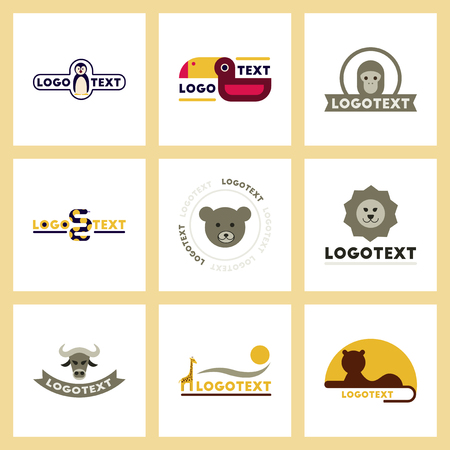 assembly flat icons nature logo bear lion giraffe penguin snake monkey bird bull Illustration