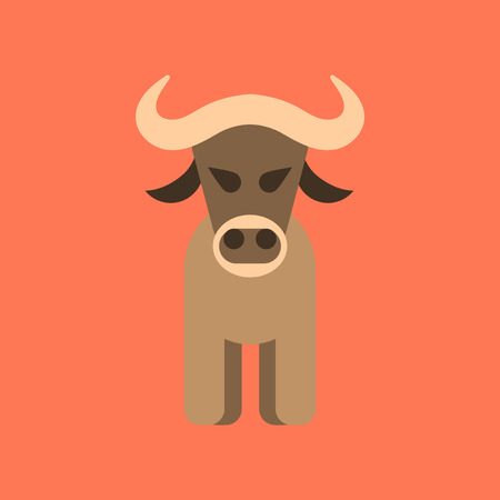 flat icon stylish background cartoon bull