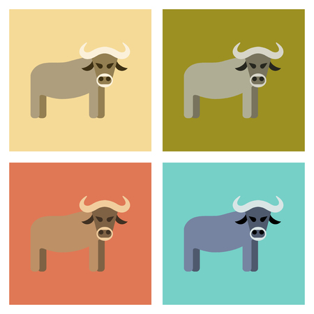 assembly flat icons nature cartoon bull Illustration