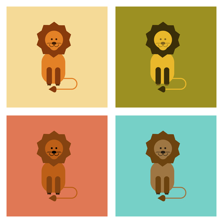 silueta de gato: assembly flat icons nature cartoon lion