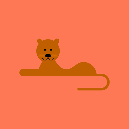 lioness: flat icon on background cartoon lioness Illustration
