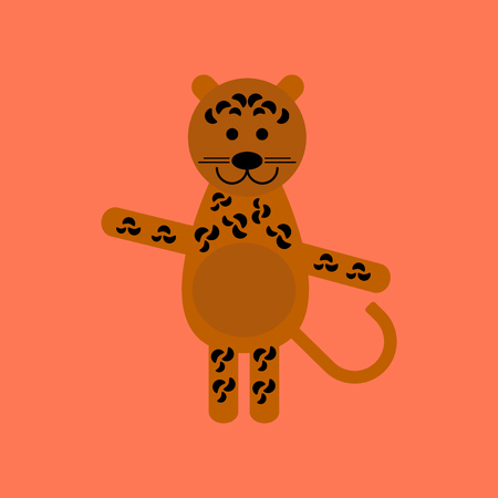 flat icon on background cartoon leopard