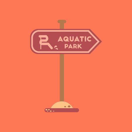 flat icon on background sign aquatic park Illustration
