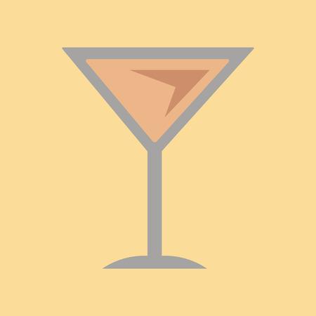 icona piatta sul bicchiere di martini sfondo
