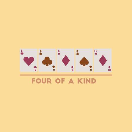 flat icon on stylish background poker four of a kind