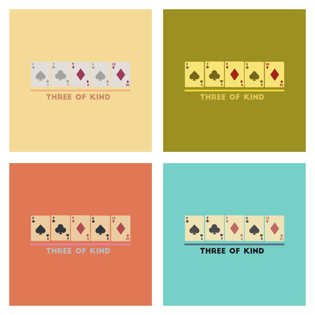 assembly flat icons poker three of a kind