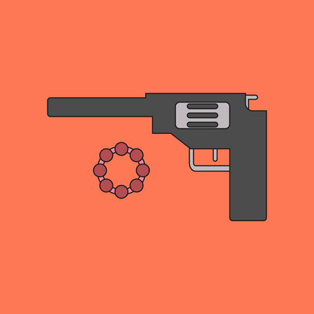 flat icon on background Kids toy pistol
