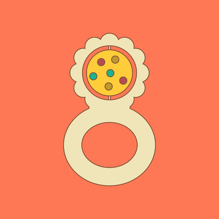 flat icon on background Kids toy rattle