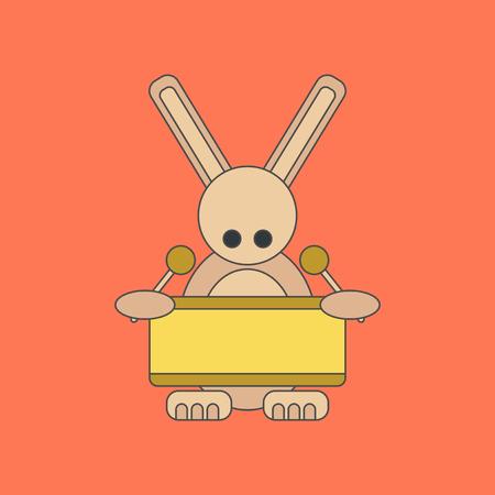 flat icon on background Kids toy rabbit drummer