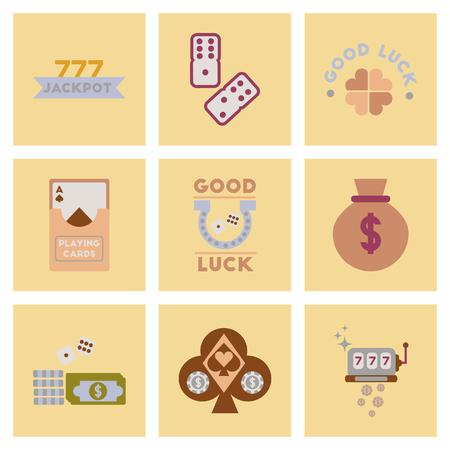 assembly flat icons poker symbols Illustration