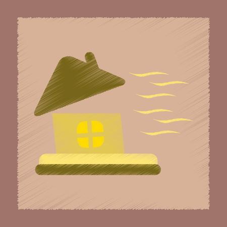 평면 음영 스타일 아이콘 폭풍 집 일러스트