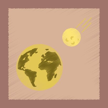 flat shading style icon meteorite earth