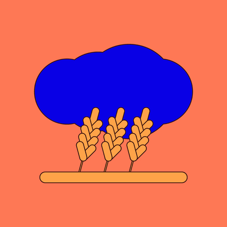 flat icon on background wheat cloud