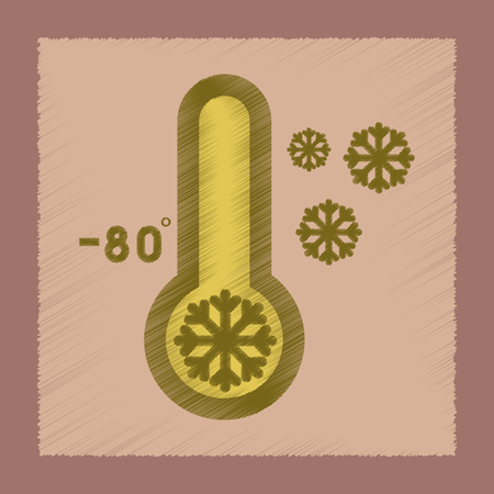 flat shading style icon thermometer cold weather