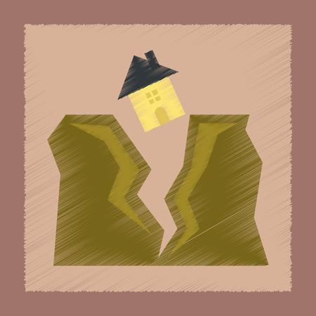 flat shading style icon house earthquake