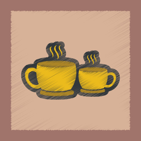 flat shading style icon coffee cups Illustration