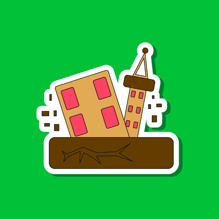 paper sticker on stylish background natural disaster earthquake house