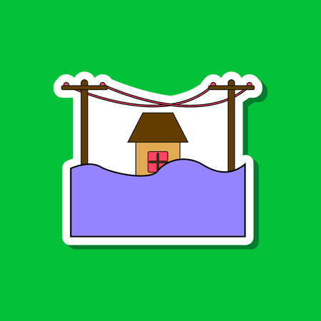 paper sticker on stylish background flood house