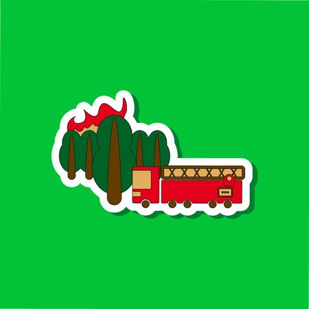 paper sticker on stylish background Forest fire truck Illustration