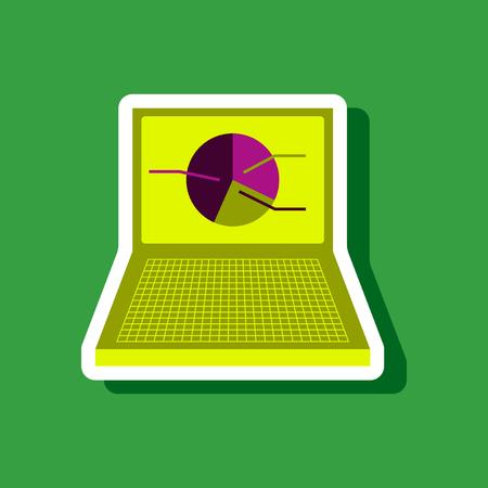 led display: paper sticker on stylish background Laptop chart