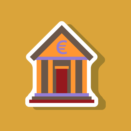 finance department: paper sticker on stylish background business bank building Illustration