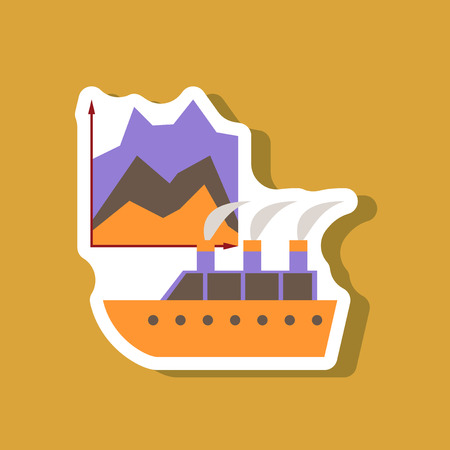 motorboat: paper sticker on stylish background Cruise ship Infographic