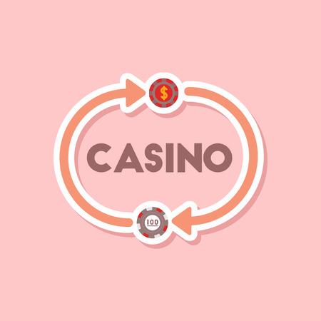 paper sticker on stylish background poker casino chips Illustration