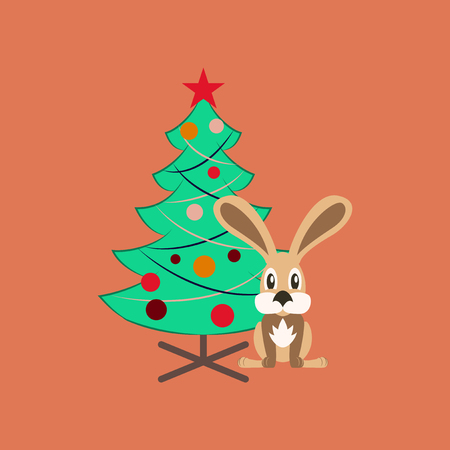 christmas tree illustration: flat illustration on background of Christmas tree Rabbit Illustration
