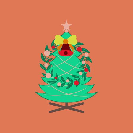 flat illustration on background of Christmas fir wreath