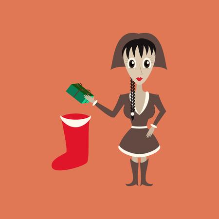 flat illustration on background of Christmas girl gifts Illustration