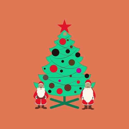 christmas tree illustration: flat illustration on background of Christmas Tree Santa Claus Illustration
