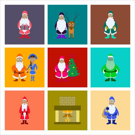 christmas tree illustration: assembly flat illustration Santa Claus Illustration