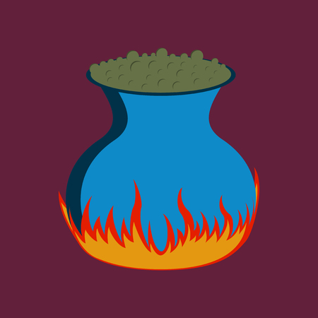 flat illustration on background of potion cauldron Illustration