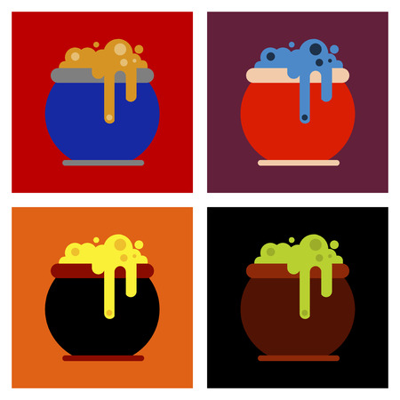 assembly flat icons halloween witches cauldron Vector Illustration