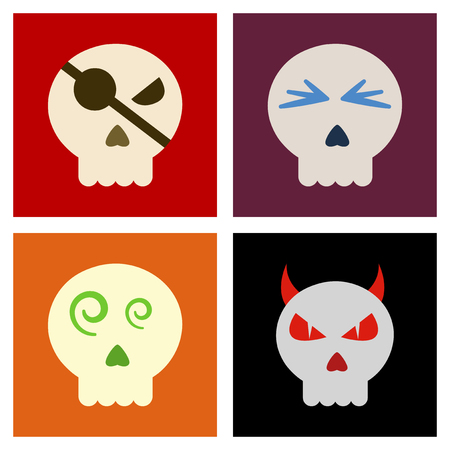 paranormal: assembly flat icons halloween emotion skull