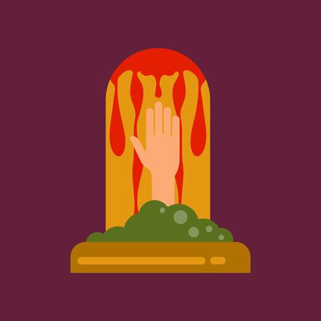 grave stone: flat icon on background halloween grave Illustration