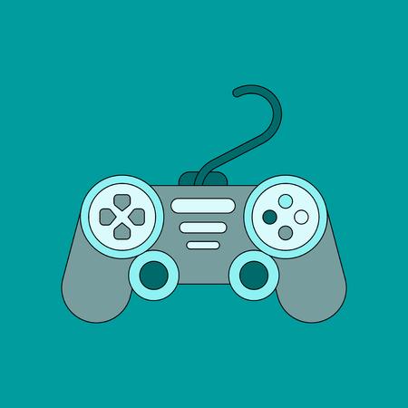 flat icon on background game joystick