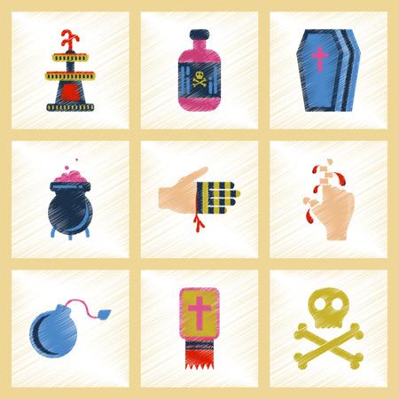 poison bottle: assembly flat shading style icons Halloween symbols Illustration