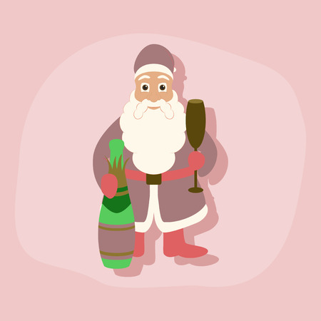 paper sticker on stylish background Santa Claus Иллюстрация