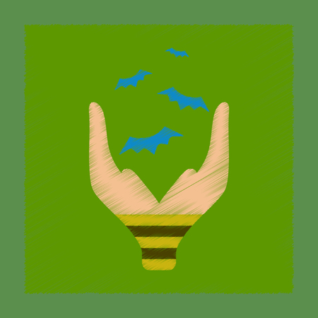 flat shading style icon hand bat