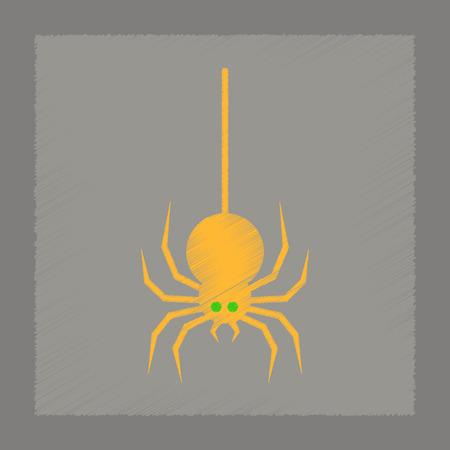 flat shading style icon halloween spider Illustration