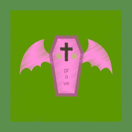 flat shading style icon wings coffin Illustration