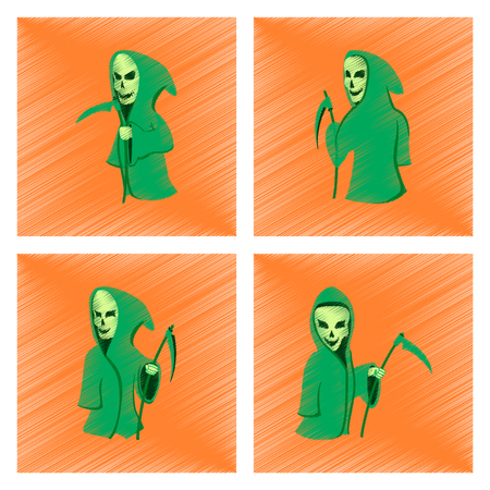 guadaña: assembly flat shading style icon of halloween death scythe
