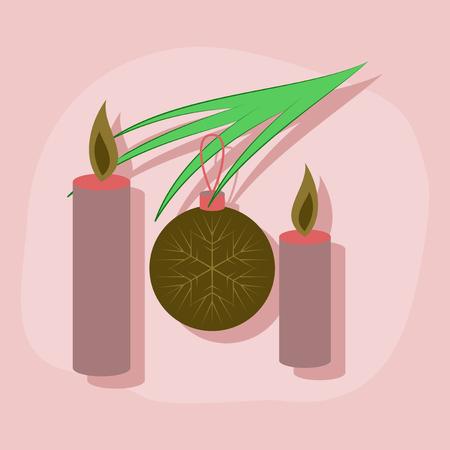 christmas tree illustration: paper sticker on stylish background of Christmas balls and candles Illustration