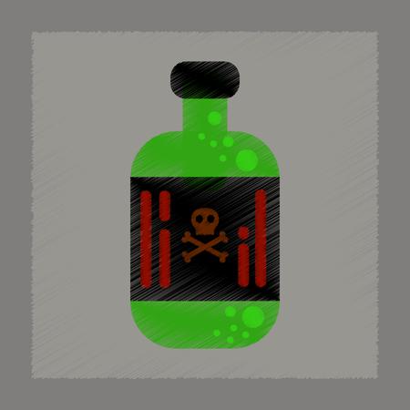 poison bottle: flat shading style icon of potion in bottle