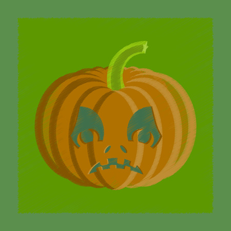 of helloween: flat shading style icon of Halloween pumpkin emotions