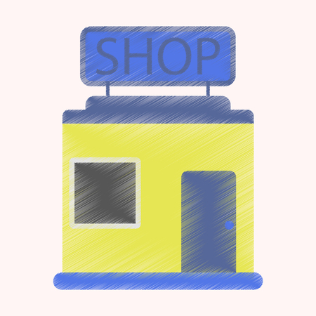 barbershop: Flat Icon in Shading Style shop store